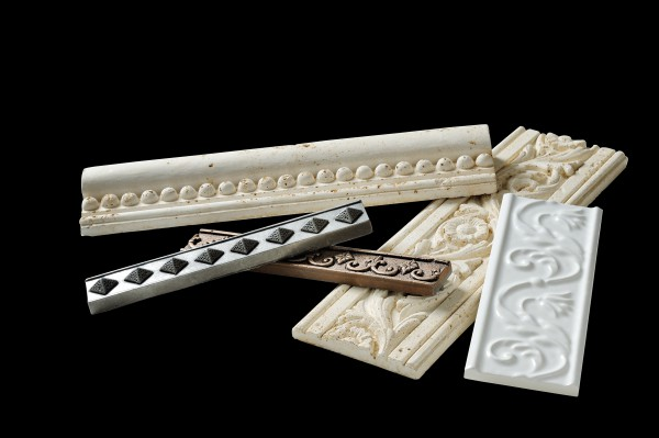An assortment of ceramic moldings of different colors and designs. A clipping path is included. ** Note: Slight graininess, best at smaller sizes