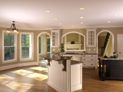 Luxury Model Home Kitchenette and arch windows
