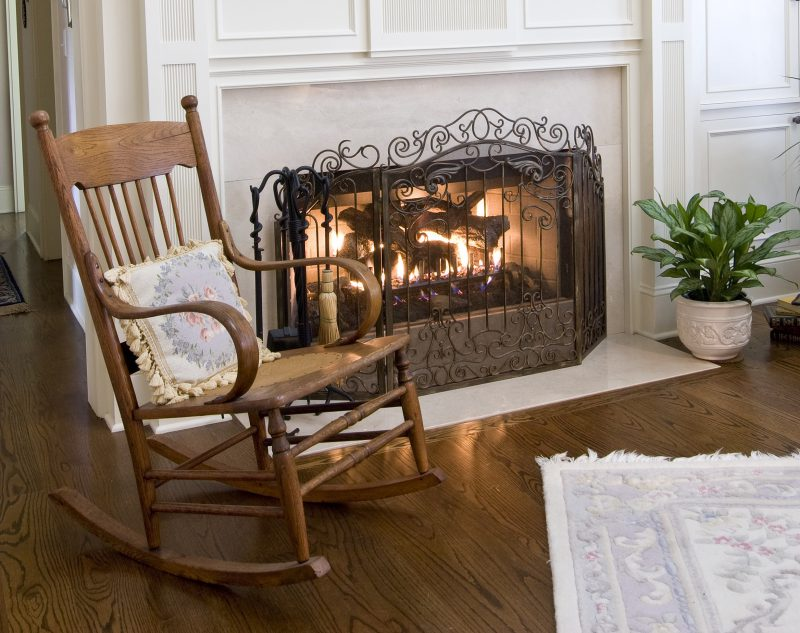 cozy fireplace and rocking chair