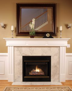 An upscale home with burning fireplace gives the feeling of being warm.