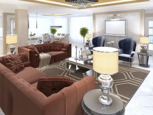 Living room in art Deco style with upholstered designer furniture. With a gold ceiling and walls in Venetian plaster. 3D render.