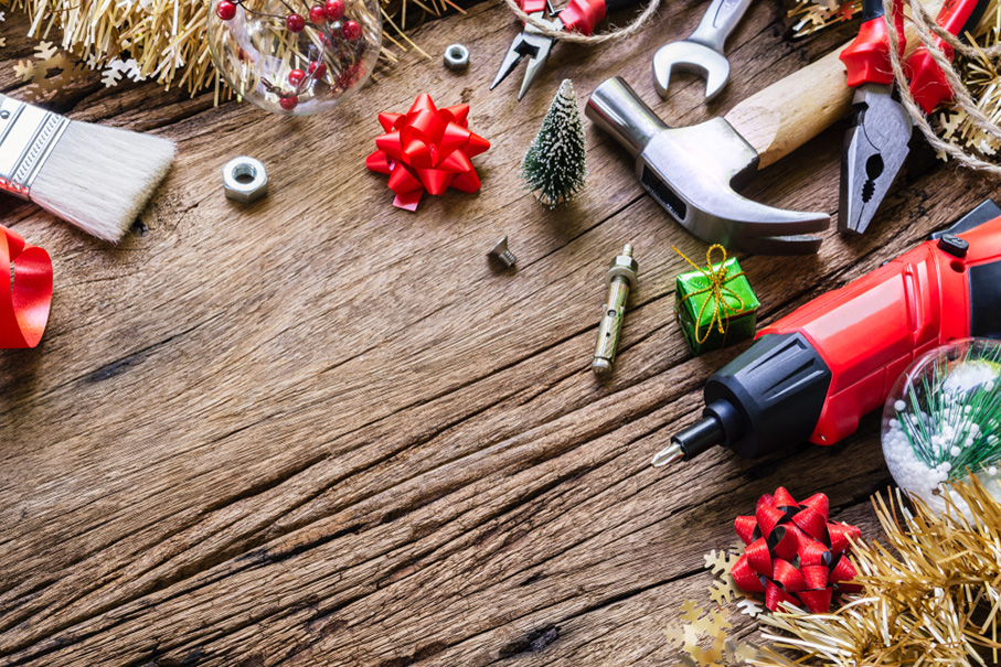 tools and Christmas decor on a table