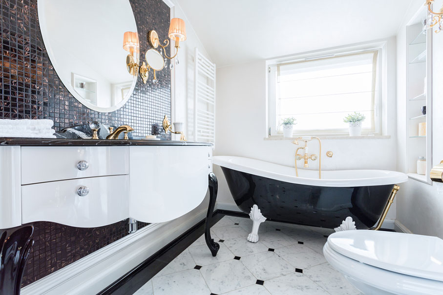 View of black and white baroque bathroom